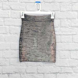 BCBG Max Azria | Bandage Pewter Metallic Skirt